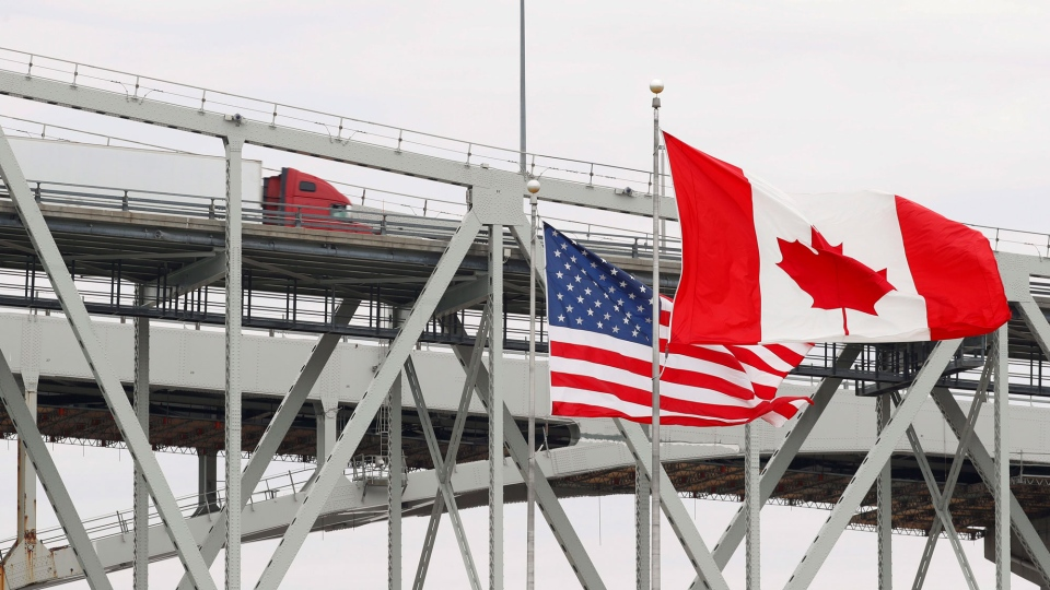 Canada U.S. border flags