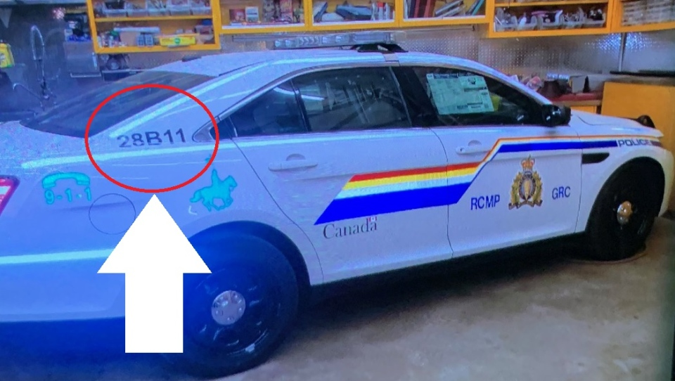 The RCMP said shooting suspect Gabriel Wortman was driving a vehicle that appeared to be an RCMP cruiser with number 28B11 behind the rear passenger window. (Nova Scotia RCMP)