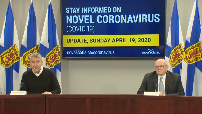 Nova Scotia premier Stephen McNeil and chief medical officer of health Dr. Robert Strang provide an update on COVID-19 during a news conference in Halifax on April 19, 2020.