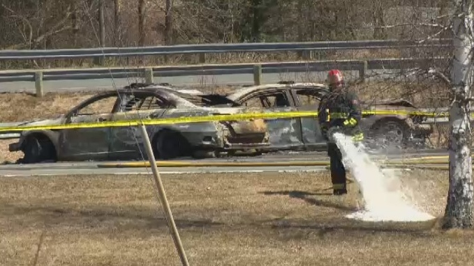 Burned-out vehicles are seen in Shubenacadie, N.S. on April 19, 2020.