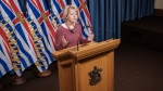 Provincial health officer, Dr. Bonnie Henry, announces new virus cases on April 18, 2020. (Province of BC/Flickr)