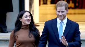 Prince Harry, Duke of Sussex and Meghan, Duchess of Sussex depart Canada House on Jan. 7, 2020 in London, England. (Chris Jackson/Getty Images/CNN)