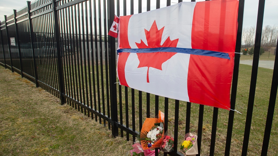 A tribute is seen at RCMP headquarters in Dartmouth, N.S. on Monday, April 20, 2020. (THE CANADIAN PRESS / Andrew Vaughan)
