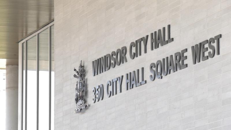 Windsor, Ont. City Hall is pictured on Monday, April 20, 2020. (Ricardo Veneza / CTV News)