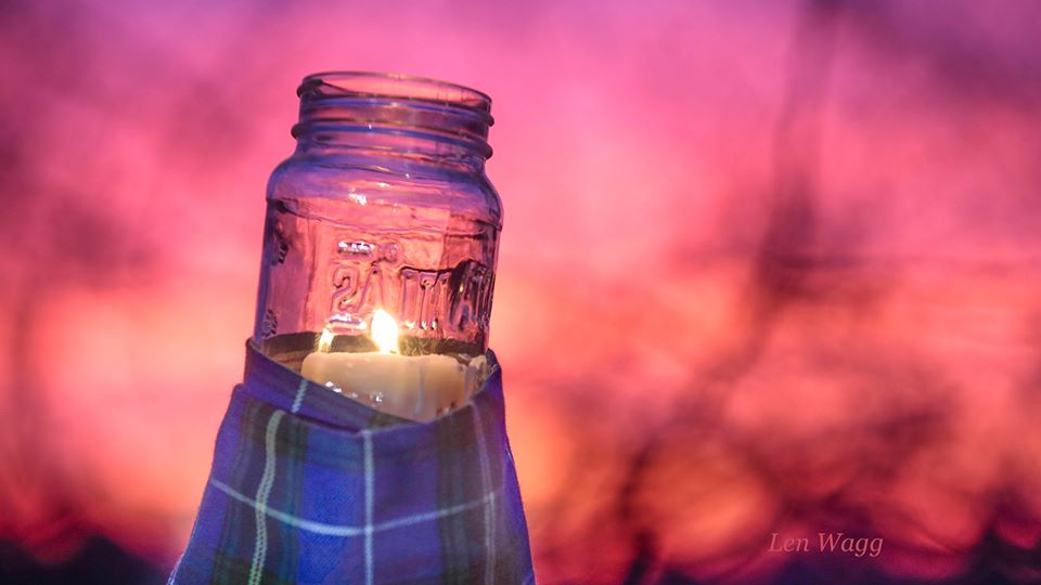 Nova Scotians and Canadians are taking to social media to display lit candles and tartan tributes in memory of the lives lost in this weekend's mass shooting. (FACEBOOK/ Len Wagg Photography)