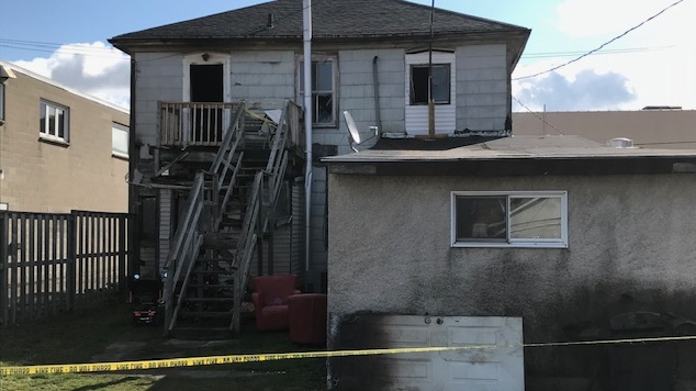 Damage following an apartment fire in Simcoe, Ont. is seen Tuesday, April 21, 2020. (Sean Irvine / CTV London)