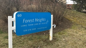 A class-action lawsuit has been filed against long-term care provider Revera over COVID-19. The sign outside of one of its facilities, Forest Heights Revera Long-Term Care, is seen here. (Dan Lauckner / CTV Kitchener)