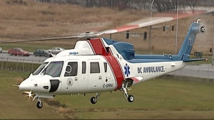 A 26-year-old Parksville man was transferred from the Nanaimo General Hospital to the Vancouver General Hospital via an air ambulance after being struck by a car.