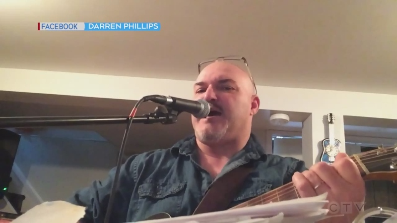 A musician in the Kirkland Lake area, Darren Phillips, performs a cover of the Foo Fighters song called Times Like These.