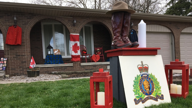 Retired RCMP officer David Dauphinee of Tecumseh, Ont. created a memorial with his old gear in tribute to the victims of the shootings in Nova Scotia on April 18 and 19. Photo taken Tuesday, April 21, 2020. (Ricardo Veneza / CTV Windsor)