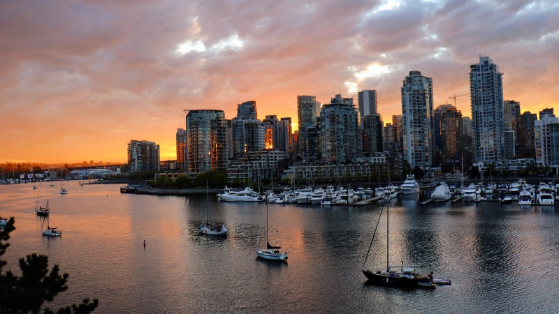 The Vancouver skyline is seen from the Cambie Street Bridge in April 2020. (Eleni Gardikiotis, submitted through our app, Weather Watch by CTV Vancouver)