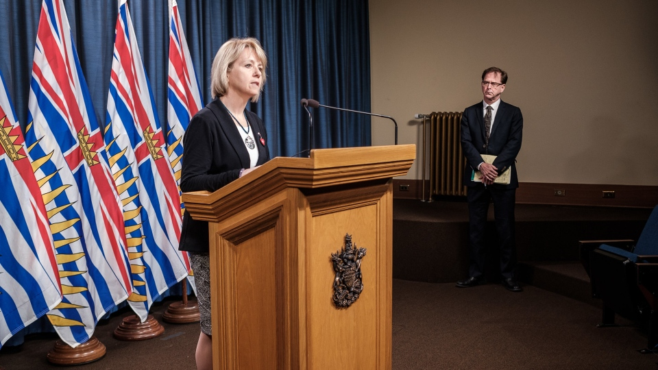 Provincial health officer Dr. Bonnie Henry and Health Minister Adrian Dix are shown at a live COVID-19 update on April 21, 2020: (Province of B.C. / Flickr)