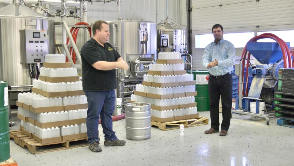 Compass Brewing in Timmins makes hand sanitizer