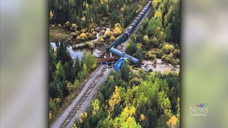 Transportation Safety Board of Canada says the accident occurred near Ponton, Man. on Sept. 15 when the train hit a washout on the Hudson Bay Railway. (Source: Jackie Gogal)