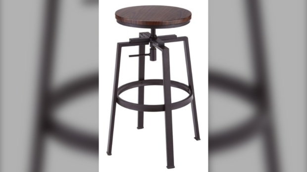 CANVAS Turner bar stools affected by the recall have a five-digit batch number where the last two digits are 17 or lower, or the last two digits are 18 and the preceding two are 38 or lower. (Health Canada)