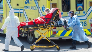 A patient is brought to the emergency department of the Verdun Hospital Thursday April 23, 2020 in Montreal.THE CANADIAN PRESS/Ryan Remiorz