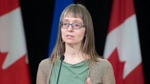 Dr. Deena Hinshaw, Chief Medical Officer of Health, updates the public and media on COVID-19 statistics and measures. April 22, 2020. (Government of Alberta)
