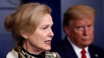 U.S. President Donald Trump listens as Dr. Deborah Birx, White House coronavirus response coordinator, speaks about the coronavirus in the James Brady Press Briefing Room of the White House, Wednesday, April 22, 2020, in Washington. (AP Photo/Alex Brandon)