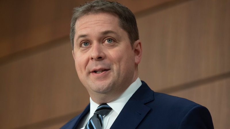 Leader of the Opposition Andrew Scheer responds to a question during a news conference, Thursday, April 23, 2020 in Ottawa. THE CANADIAN PRESS/Adrian Wyld
