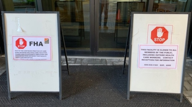 Warning signs are posted outside an assisted living community in the Fraser Health region in this CTV News file image.