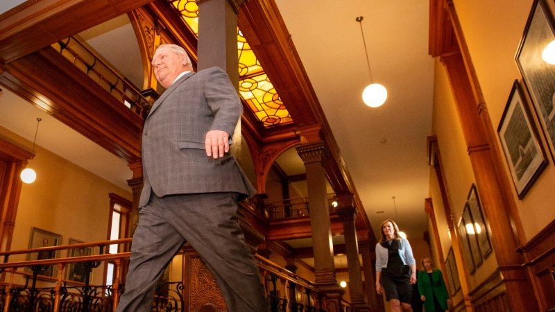 Ontario Premier Doug Ford arrives for the daily briefing at Queen's Park in Toronto on Thursday April 23, 2020. THE CANADIAN PRESS/Frank Gunn