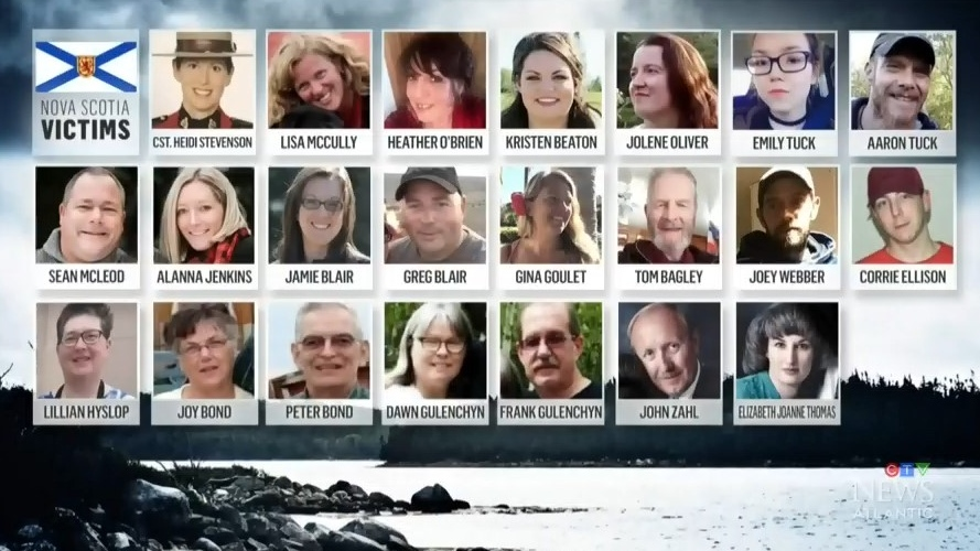 A Nova Scotia man went on a killing rampage, taking the lives of 22 people on April 18 and 19. Nine of his victims were male; the other 13 were female.