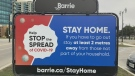 Barrie Stay Home sign