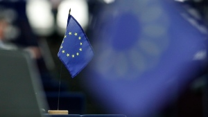 A European flag is pictured at the European Parliament in Strasbourg, eastern France, Tuesday, Sept.17, 2019. THE CANADIAN PRESS/HO, Jean-Francois Badias