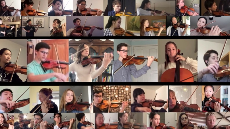 United in Isolation is a collection of 38 violinists, one cellist and one violist, who played Johann Sebastian Bach's Concerto for two violins, 2nd movement to inspire during the COVID-19 pandemic. SOURCE YouTube