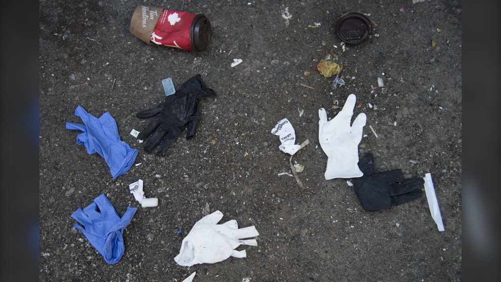 Gloves masks litter