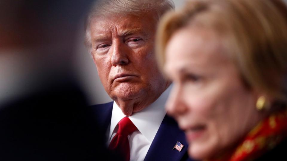 Trump listens as Dr. Deborah Birx speaks