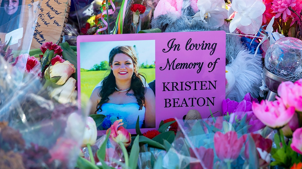A photo of Kristen Beaton is displayed at a memorial in Debert, N.S. on Sunday, April 26, 2020.  (THE CANADIAN PRESS/Andrew Vaughan)