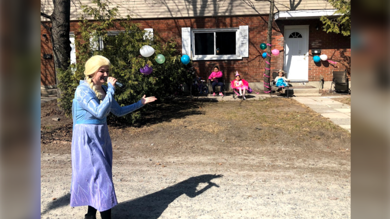 Kassie Taylor dressed up as Elsa from Frozen. Apr. 2020 (Ian Campbell/CTV Northern Ontario)