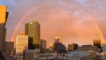 A rainbow is pictured over downtown Winnipeg. CTV News Photo Josh Crabb