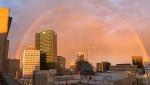 A rainbow is pictured over downtown Winnipeg. CTV News Photo Josh Crabb