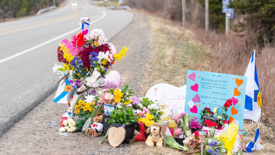 A memorial remembering Nova Scotia shooting victim Lillian Campbell is seen along the road in Wentworth, N.S. on Friday, April 24, 2020. (THE CANADIAN PRESS/Liam Hennessey)