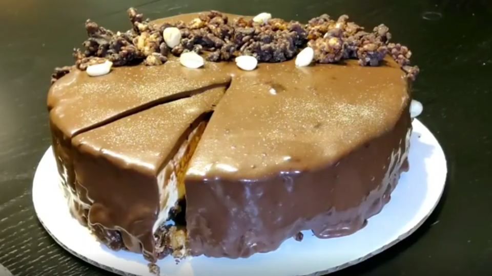 Chocolate Peanut Butter Mousse Crunch Cake