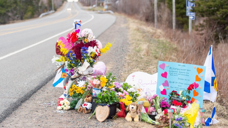 A memorial remembering Lillian Hyslop is seen along the road in Wentworth, N.S. on Friday, April 24, 2020. (Courtesy: THE CANADIAN PRESS/Liam Hennessey)