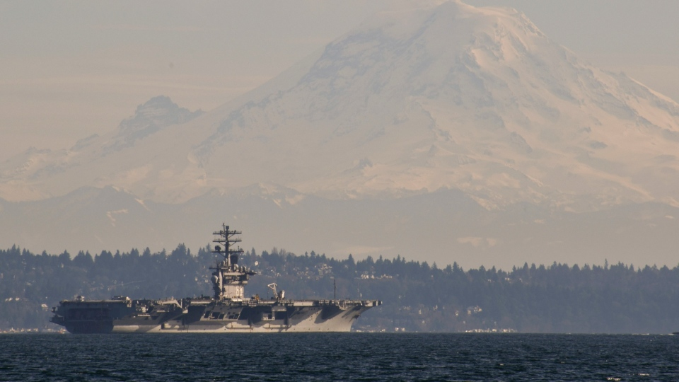 The USS Nimitz transits the Puget Sound on Feb. 21, 2020. (U.S. Department of Defense/Navy Seaman Olivia Banmally Nichols)