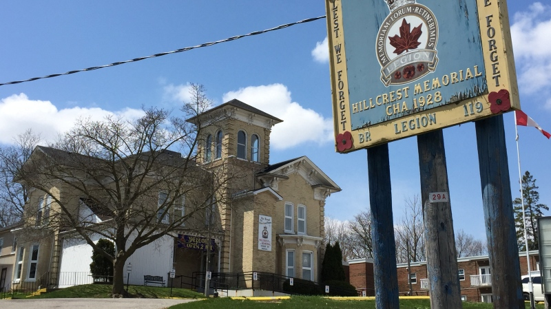 Hillcrest Memorial Legion Branch 119 in Ingersoll, Ont. is seen on Tuesday, April 28, 2020. (Bryan Bicknell / CTV London)