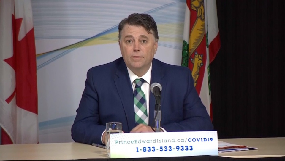 P.E.I. premier Dennis King speaks at an update on April 28, 2020.