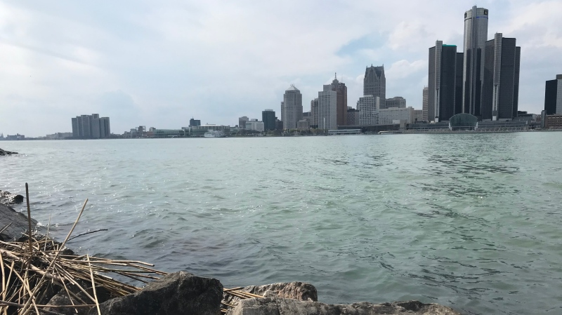 High water levels along the Detroit River in Windsor, Ont., on Tuesday, April 28, 2020. (Michelle Maluske / CTV Windsor)