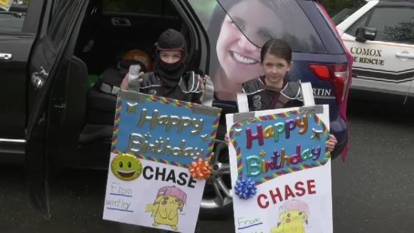 More than 100 vehicles formed a birthday parade for eight-year-old Chase Petersen, who is battling cancer amid the COVID-19 pandemic: (CTV News)