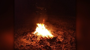 Bonfire at RM of MacDonald. Photo by Garrett Payment.