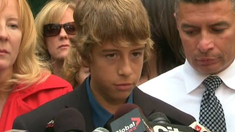Stefanie Rengel's brother, Ian, speaks to reporters outside the courthouse in Toronto, Monday, Sept. 28, 2009.