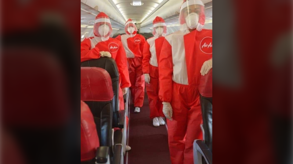 The new PPE uniforms for AirAsia cabin crew are seen in this undated photo. (Tony Fernandes / Instagram)