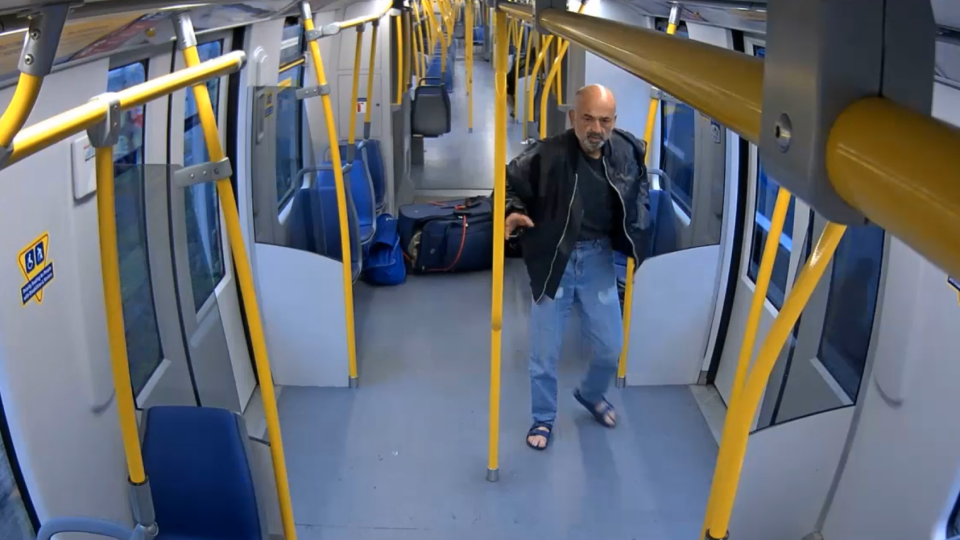 The suspect in an April 25 attack on a SkyTrain in Vancouver is shown in a still image from video provided by Metro Vancouver Transit Police.