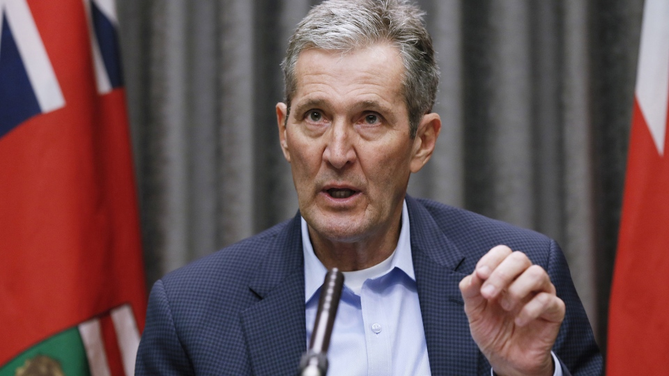 Manitoba Premier Brian Pallister speaks during the province's latest COVID-19 update at the Manitoba legislature in Winnipeg Monday, March 30, 2020. The Manitoba government says it will now test anyone with COVID-19 symptoms to see if they have the novel coronavirus. THE CANADIAN PRESS/John Woods