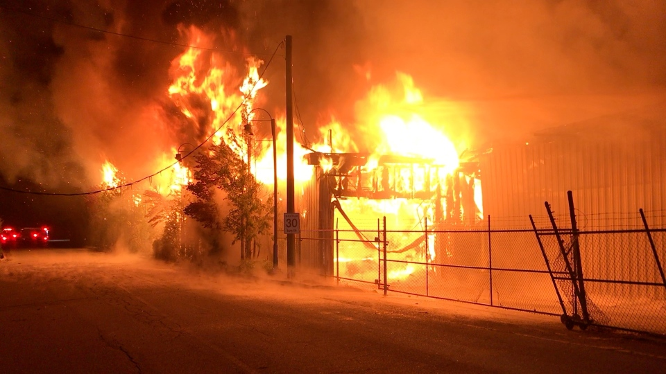 A lumber mill in Port Alberni is promising to rebuild following a large overnight fire Wednesday: (Port Alberni Fire Department)