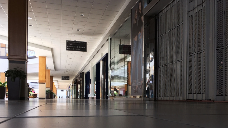 The Polo Park Mall remains empty amid the COVID-19 pandemic in Winnipeg on April 29, 2020. (Source: Les Leschasin/ CTV News Winnipeg)
